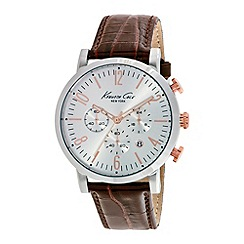 Kenneth Cole - Mens silver dial and brown leather strap