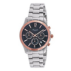 Kenneth Cole - Mens black dial and silver stainless steel bracelet