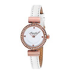 Kenneth Cole - Ladies white dial and white leather strap