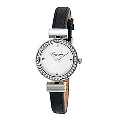 Kenneth Cole - Ladies white dial and black leather strap