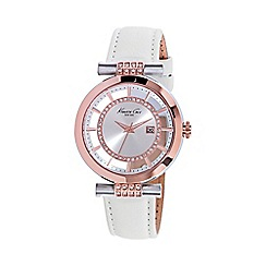 Kenneth Cole - Ladies silver dial and white leather strap