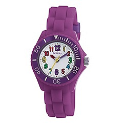 Tikkers - Kids' purple round dial segmented strap sports watch