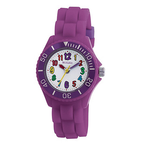 Tikkers - Kids+ purple round dial segmented strap sports watch