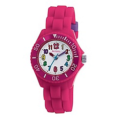 Tikkers - Kids' pink round dial segmented strap sports watch