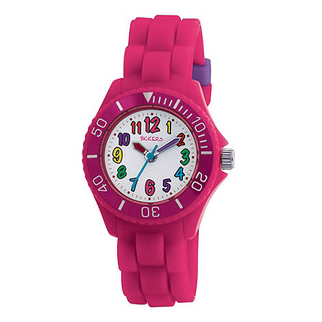 Tikkers - Kids+ pink round dial segmented strap sports watch