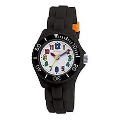 Tikkers - Kids' black round dial segmented strap sports watch