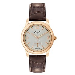 Rotary - Gents rose gold plated strap watch
