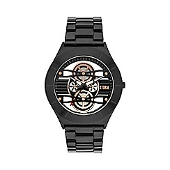 STORM - Mens slate multi layer cog dial, clear glass caseback steel bracelet watch