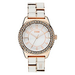 STORM - Ladies white rose gold crystal on bezel enamel bracelet watch