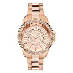 STORM - Ladies rose gold crystal on bezal, patterned/numbered dial steel bracelet watch
