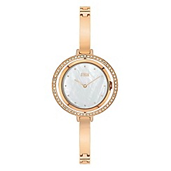 STORM - Ladies rose gold crystal, swivel case crystal on reverse bangle/bracelet watch