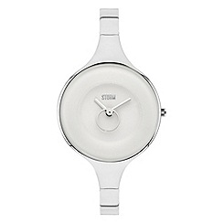 STORM - Ladies silver white steel easylink bangle watch