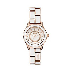 STORM - Ladies rose gold white crystal enamel bracelet watch