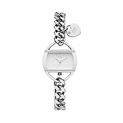 STORM - Ladies white silver crystal easilink curb chain watch