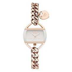 STORM - Ladies white rose gold crystal easilink curb chain watch