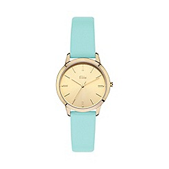 STORM - Ladies gold/aqua sunray dial leather strap watch