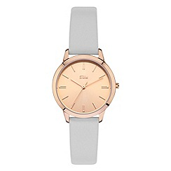 STORM - Ladies gold/grey sunray dial leather strap watch