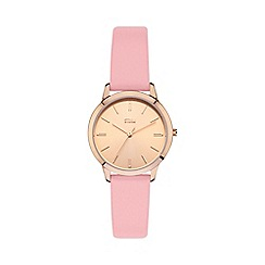 STORM - Ladies gold/pink sunray dial leather strap watch