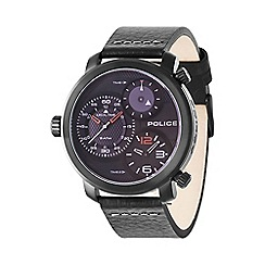 Police - Men's black leather strap watch