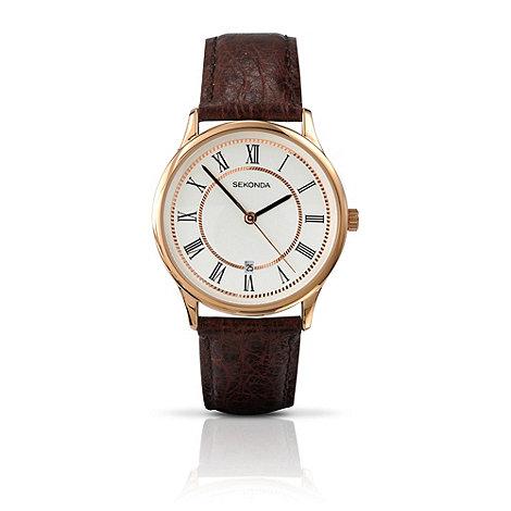 Sekonda - Men+s gold plated round case brown strap watch