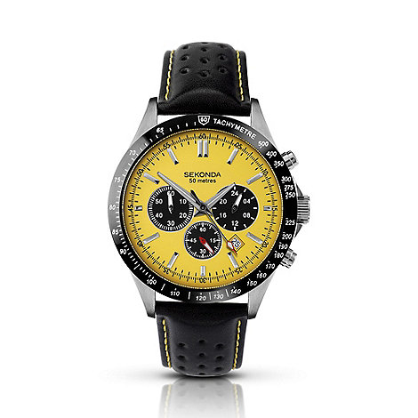 Sekonda - Men+s black chronograph watch