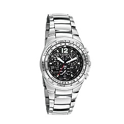 Citizen - Men's silver 'eco-drive' flight chronograph bracelet watch