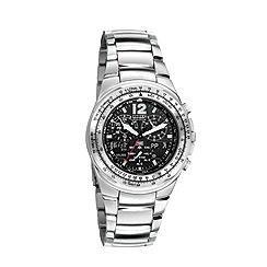 Citizen - Men's silver 'eco-drive' flight chronograph bracelet watch