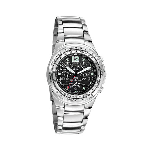 Citizen - Men+s silver +eco-drive+ flight chronograph bracelet watch