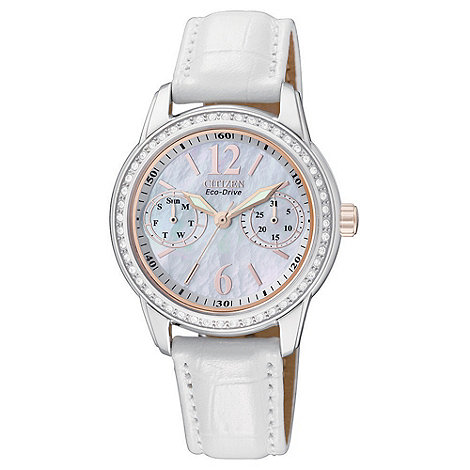 Citizen - Ladies white eco-drive leather strap watch