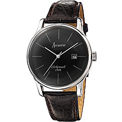 Accurist - Mens brown leather strap watch
