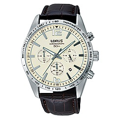 Lorus - Gents snowflake dial brown leather strap chronograph watch