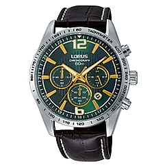 Lorus - Gents dark green dial brown leather strap chronograph watch