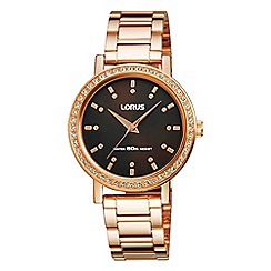 Lorus - Ladies rose gold case brown dial bracelet watch