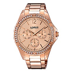 Lorus - Ladies rose gold multidial bracelet watch