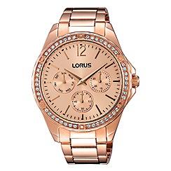 Lorus - Ladies rose gold multidial bracelet watch