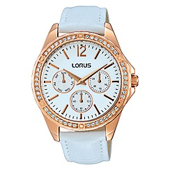 Lorus - Ladies rose gold case multidial white leather strap watch