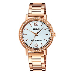 Lorus - Ladies rose gold silver white dial bracelet watch