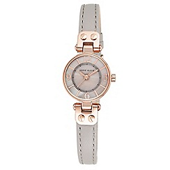 Anne Klein - Ladies rose gold-tone watch with grey leather band
