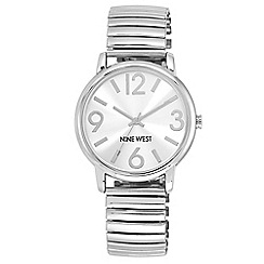 Nine West - Silver expander bracelet with silver dial