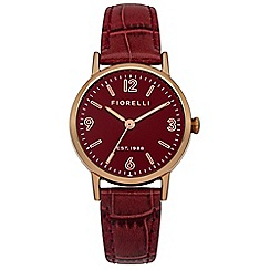 Fiorelli - Ladies red croc leather strap watch
