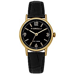 Fiorelli - Ladies black croc leather strap watch