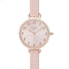 Lipsy - Ladies pink stone bezel watch