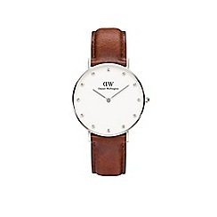 Daniel Wellington - Ladies silver leather strap watch