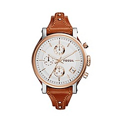 Fossil - Ladies rose gold 'original boyfriend' brown leather strap watch es3837