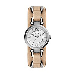 Fossil - Ladies light brown 'georgia' leather saddle strap watch