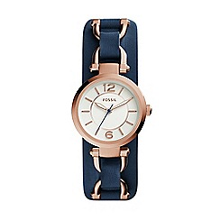 Fossil - Ladies blue 'georgia' leather saddle strap watch
