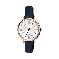 Fossil - Ladies rose gold 'jacqueline' blue strap watch es3843