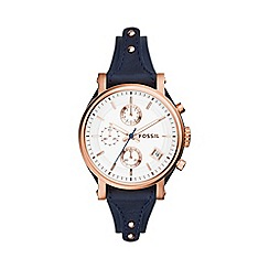 Fossil - Ladies rose gold 'original boyfriend' blue leather strap watch es3838
