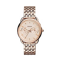 Fossil - Ladies rose gold 'tailor' stainless steel watch es3713