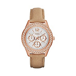Fossil - Ladies rose gold 'stella' leather strap watch es3816